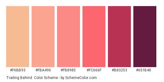 Trailing Behind - Color scheme palette thumbnail - #f6bb93 #fba490 #fb8985 #fc666f #b83253 #651b40