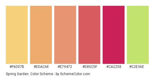 Spring Garden - Color scheme palette thumbnail - #f6d07b #edac6e #e79472 #d85c5f #ca2258 #c2e36e