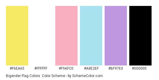 Bigender Flag Colors - Color scheme palette thumbnail - #f6ea65 #FFFFFF #f9afc0 #a8e2ef #bf97e0 #000000