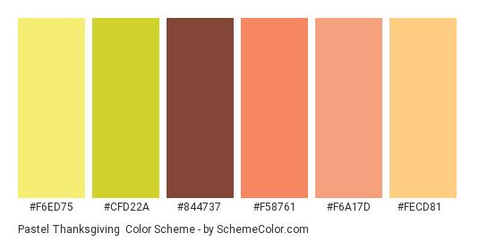 Pastel Thanksgiving - Color scheme palette thumbnail - #f6ed75 #cfd22a #844737 #f58761 #f6a17d #fecd81