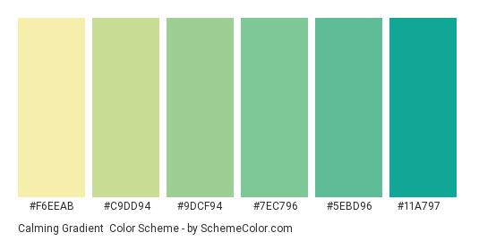 Calming Gradient - Color scheme palette thumbnail - #f6eeab #c9dd94 #9dcf94 #7ec796 #5ebd96 #11a797