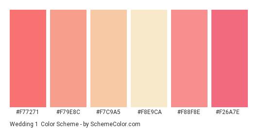 Wedding 1 - Color scheme palette thumbnail - #f77271 #f79e8c #f7c9a5 #f8e9ca #f88f8e #f26a7e