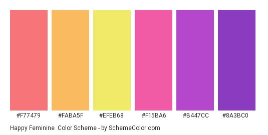 Happy Feminine - Color scheme palette thumbnail - #f77479 #faba5f #efeb68 #f15ba6 #b447cc #8a3bc0