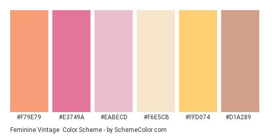 Feminine Vintage - Color scheme palette thumbnail - #f79e79 #e3749a #eabecd #f6e5cb #ffd074 #d1a289
