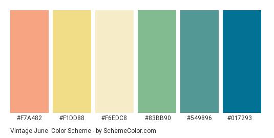 Vintage June - Color scheme palette thumbnail - #f7a482 #f1dd88 #f6edc8 #83bb90 #549896 #017293
