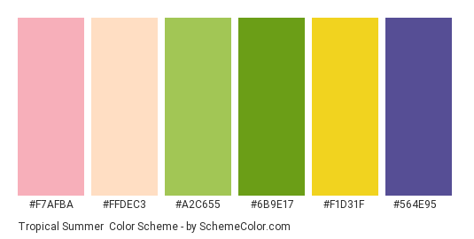 Tropical Summer - Color scheme palette thumbnail - #f7afba #ffdec3 #a2c655 #6b9e17 #f1d31f #564e95
