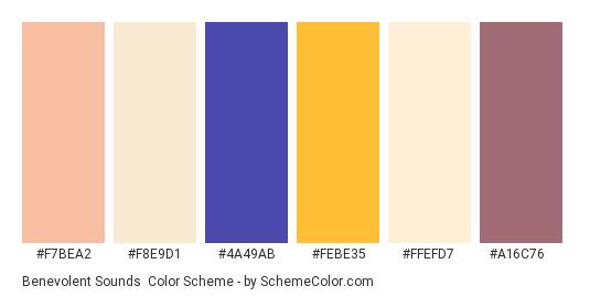 Benevolent Sounds - Color scheme palette thumbnail - #f7bea2 #f8e9d1 #4a49ab #febe35 #ffefd7 #a16c76