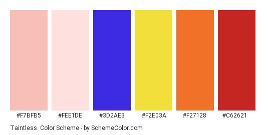 Taintless - Color scheme palette thumbnail - #f7bfb5 #fee1de #3D2AE3 #F2E03A #F27128 #C62621