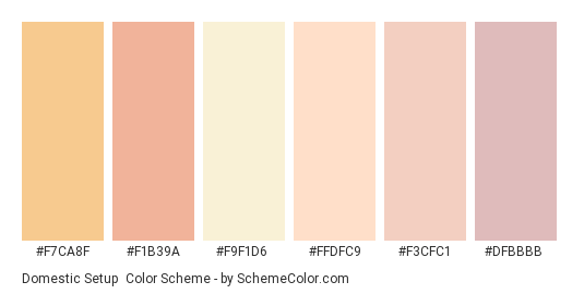 Domestic Setup - Color scheme palette thumbnail - #f7ca8f #f1b39a #f9f1d6 #ffdfc9 #f3cfc1 #dfbbbb