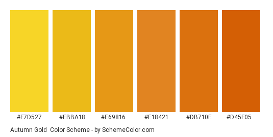 Autumn Gold - Color scheme palette thumbnail - #f7d527 #ebba18 #e69816 #e18421 #db710e #d45f05