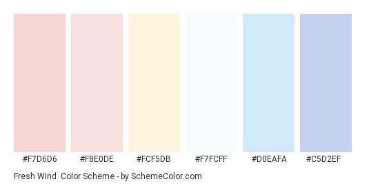 Fresh Wind - Color scheme palette thumbnail - #f7d6d6 #f8e0de #fcf5db #f7fcff #d0eafa #c5d2ef