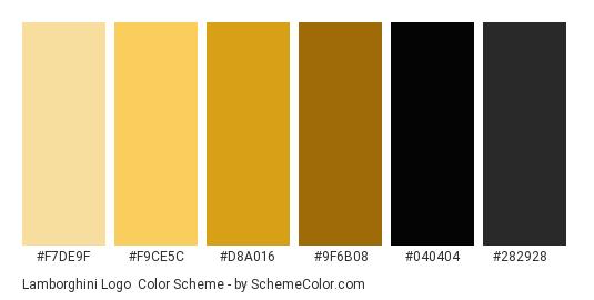 Lamborghini Logo - Color scheme palette thumbnail - #f7de9f #f9ce5c #d8a016 #9f6b08 #040404 #282928