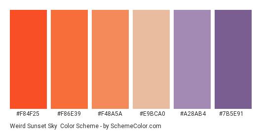 Weird Sunset Sky - Color scheme palette thumbnail - #f84f25 #f86e39 #f48a5a #e9bca0 #a28ab4 #7b5e91
