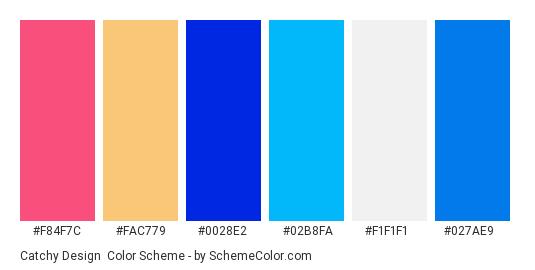 Catchy Design - Color scheme palette thumbnail - #f84f7c #fac779 #0028e2 #02b8fa #f1f1f1 #027ae9