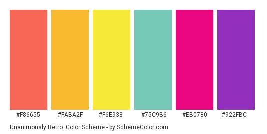 Unanimously Retro - Color scheme palette thumbnail - #f86655 #faba2f #f6e938 #75c9b6 #eb0780 #922fbc