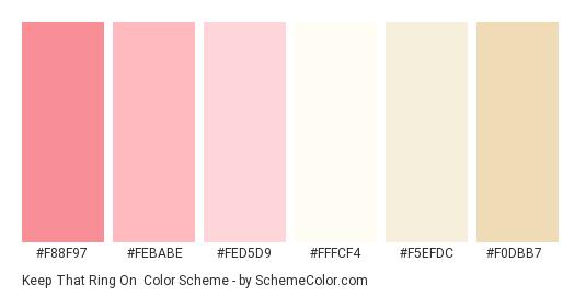 Keep That Ring On - Color scheme palette thumbnail - #f88f97 #febabe #fed5d9 #fffcf4 #f5efdc #f0dbb7