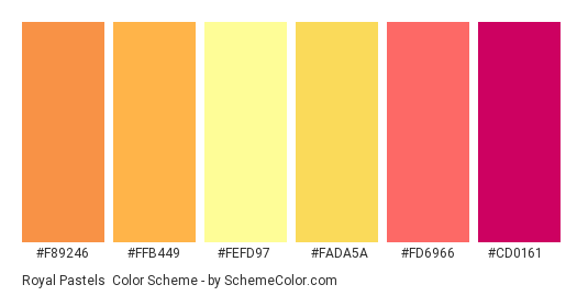 Royal Pastels - Color scheme palette thumbnail - #f89246 #ffb449 #fefd97 #fada5a #fd6966 #cd0161