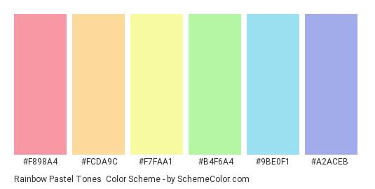 Rainbow Pastel Tones - Color scheme palette thumbnail - #f898a4 #fcda9c #f7faa1 #b4f6a4 #9be0f1 #a2aceb