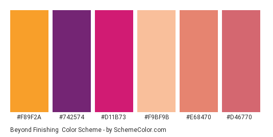 Beyond Finishing - Color scheme palette thumbnail - #f89f2a #742574 #d11b73 #f9bf9b #e68470 #d46770