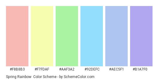 Spring Rainbow - Color scheme palette thumbnail - #f8b8b3 #f7fdaf #aaf3a2 #92defc #aec5f1 #b1a7f0
