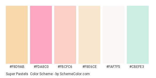 Super Pastels - Color scheme palette thumbnail - #f8d9ab #fda8c0 #fbcfc6 #f8e6ce #faf7f5 #cbefe3