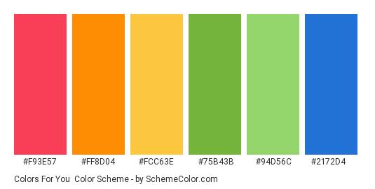 Colors for You - Color scheme palette thumbnail - #f93e57 #ff8d04 #fcc63e #75b43b #94d56c #2172d4