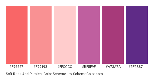 Soft Reds and Purples - Color scheme palette thumbnail - #f96667 #f99193 #ffcccc #bf5f9f #a73a7a #5f2b87