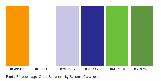 Fanta Europe Logo - Color scheme palette thumbnail - #f99500 #ffffff #c9c6e5 #2b2b90 #6dc13a #5e973f