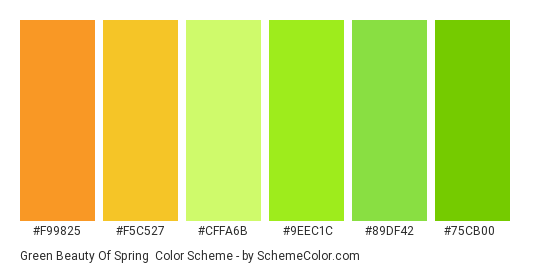 Green Beauty of Spring - Color scheme palette thumbnail - #f99825 #f5c527 #cffa6b #9eec1c #89df42 #75cb00