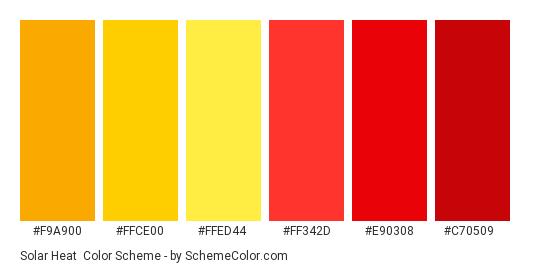 Solar Heat - Color scheme palette thumbnail - #f9a900 #ffce00 #ffed44 #ff342d #e90308 #c70509