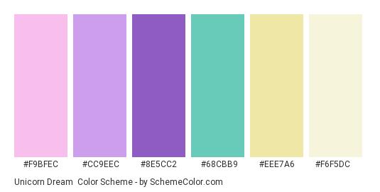 Unicorn Dream - Color scheme palette thumbnail - #f9bfec #cc9eec #8e5cc2 #68cbb9 #eee7a6 #f6f5dc