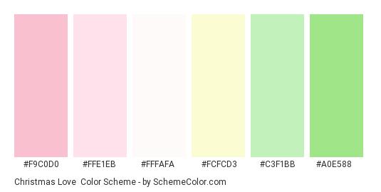 Christmas Love - Color scheme palette thumbnail - #f9c0d0 #ffe1eb #fffafa #fcfcd3 #c3f1bb #a0e588