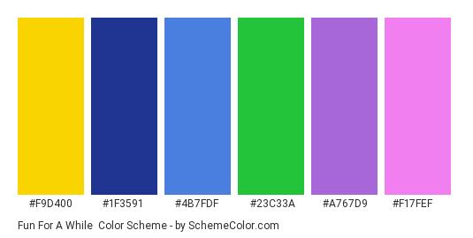 Fun for a While - Color scheme palette thumbnail - #f9d400 #1f3591 #4b7fdf #23c33a #a767d9 #f17fef