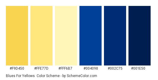Blues for Yellows - Color scheme palette thumbnail - #f9d450 #ffe77d #fff6b7 #004098 #002c75 #001e50