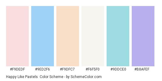 Happy Like Pastels - Color scheme palette thumbnail - #f9dedf #9ed2f6 #f9dfc7 #f6f5f0 #9ddce0 #b8afef