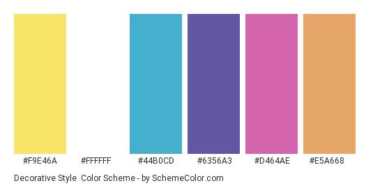 Decorative Style - Color scheme palette thumbnail - #f9e46a #ffffff #44b0cd #6356a3 #d464ae #e5a668
