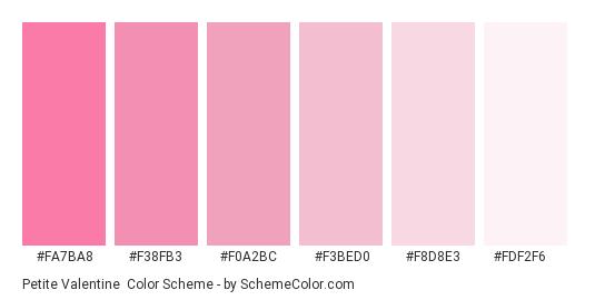 Petite Valentine - Color scheme palette thumbnail - #fa7ba8 #f38fb3 #f0a2bc #f3bed0 #f8d8e3 #fdf2f6