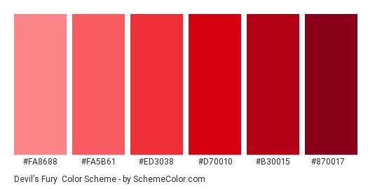 Devil's Fury - Color scheme palette thumbnail - #fa8688 #fa5b61 #ed3038 #d70010 #b30015 #870017