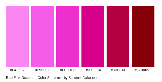 Red-Pink Gradient - Color scheme palette thumbnail - #fa86f2 #f55ce7 #ed30cd #d7008a #b30041 #870009