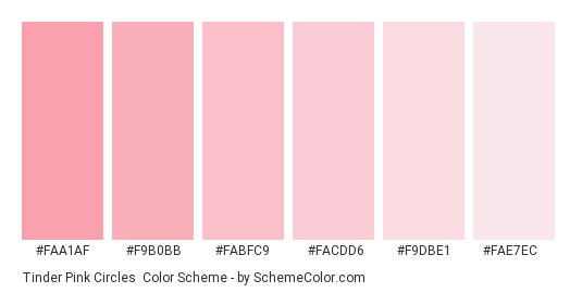 Tinder Pink Circles - Color scheme palette thumbnail - #faa1af #f9b0bb #fabfc9 #facdd6 #f9dbe1 #fae7ec