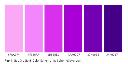Pink-Indigo Gradient - Color scheme palette thumbnail - #faa9f4 #f386fa #d830ed #aa00d7 #7400b3 #440087