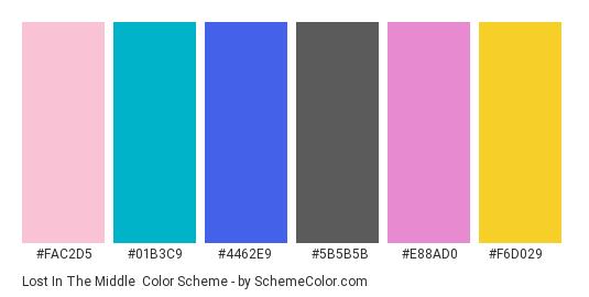 Lost in the Middle - Color scheme palette thumbnail - #fac2d5 #01b3c9 #4462e9 #5b5b5b #e88ad0 #f6d029