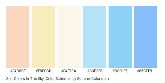 Soft Colors in the Sky - Color scheme palette thumbnail - #fad8bf #f8ecbd #faf7ea #b3e3f8 #8cd1f6 #85bef9