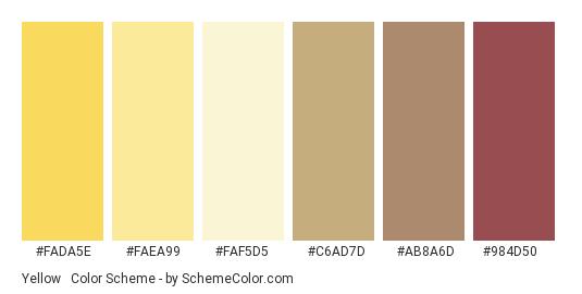 Yellow & Beige - Color scheme palette thumbnail - #fada5e #faea99 #faf5d5 #c6ad7d #ab8a6d #984d50