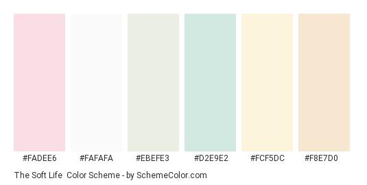 The Soft Life - Color scheme palette thumbnail - #fadee6 #fafafa #ebefe3 #d2e9e2 #fcf5dc #f8e7d0