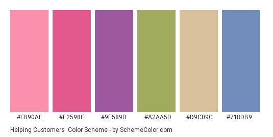 Helping Customers - Color scheme palette thumbnail - #fb90ae #e2598e #9e589d #a2aa5d #d9c09c #718db9