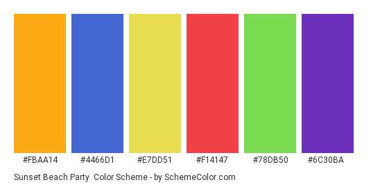 Sunset Beach Party - Color scheme palette thumbnail - #fbaa14 #4466d1 #e7dd51 #f14147 #78db50 #6c30ba