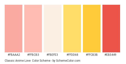 Classic Anime Love - Color scheme palette thumbnail - #fbaaa2 #ffbcb3 #fbefe3 #ffdd68 #ffcb3b #eb5449