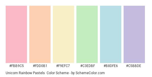 Unicorn Rainbow Pastels - Color scheme palette thumbnail - #fbb9c5 #fdd0b1 #f9efc7 #c3edbf #b8dfe6 #c5bbde