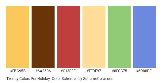 Trendy Colors for Holiday - Color scheme palette thumbnail - #fbc95b #6a3506 #c13e3e #ffdf97 #8fcc75 #6d88df